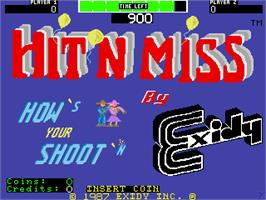 Title screen of Hit 'n Miss on the Arcade.