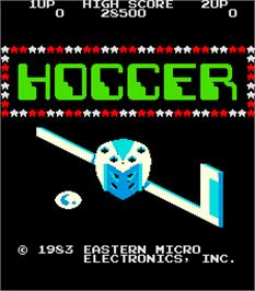 Title screen of Hoccer on the Arcade.