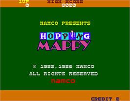 Title screen of Hopping Mappy on the Arcade.