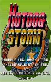 Title screen of Hotdog Storm on the Arcade.