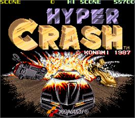 Title screen of Hyper Crash on the Arcade.
