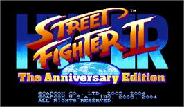Title screen of Hyper Street Fighter 2: The Anniversary Edition on the Arcade.