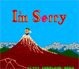 Title screen of I'm Sorry on the Arcade.