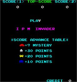 Title screen of IPM Invader on the Arcade.
