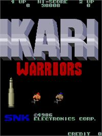 Title screen of Ikari Warriors on the Arcade.
