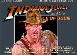 Title screen of Indiana Jones and the Temple of Doom on the Arcade.