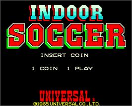 Title screen of Indoor Soccer on the Arcade.