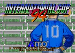Title screen of International Cup '94 on the Arcade.