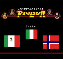 Title screen of International Team Laser on the Arcade.