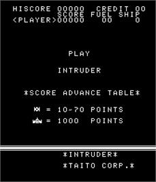 Title screen of Intruder on the Arcade.