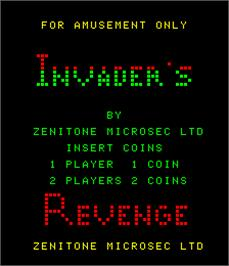 Title screen of Invader's Revenge on the Arcade.