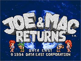 Title screen of Joe & Mac Returns on the Arcade.
