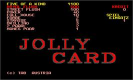 Title screen of Jolly Card on the Arcade.
