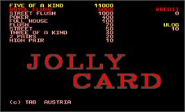 Title screen of Jolly Card Professional 2.0 on the Arcade.