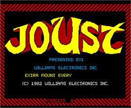 Title screen of Joust on the Arcade.