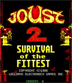Title screen of Joust 2 - Survival of the Fittest on the Arcade.