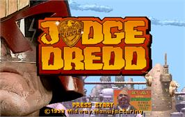Title screen of Judge Dredd on the Arcade.