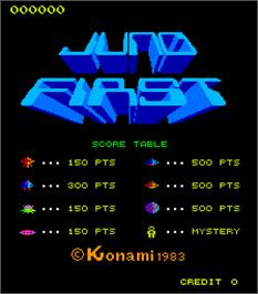Title screen of Juno First on the Arcade.