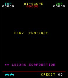 Title screen of Kamikaze on the Arcade.