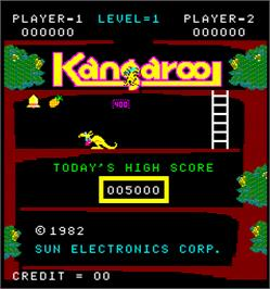 Title screen of Kangaroo on the Arcade.