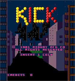Title screen of Kick on the Arcade.