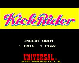 Title screen of Kick Rider on the Arcade.