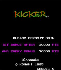 Title screen of Kicker on the Arcade.