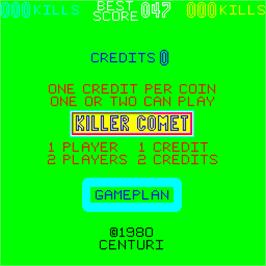Title screen of Killer Comet on the Arcade.