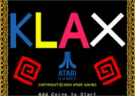 Title screen of Klax on the Arcade.
