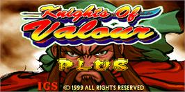 Title screen of Knights of Valour Plus / Sangoku Senki Plus on the Arcade.