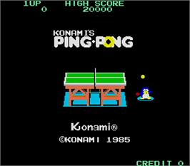 Title screen of Konami's Ping-Pong on the Arcade.
