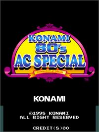 Title screen of Konami 80's AC Special on the Arcade.