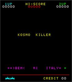 Title screen of Kosmo Killer on the Arcade.