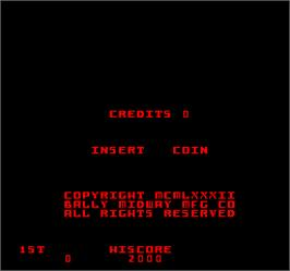Title screen of Kozmik Kroozr on the Arcade.