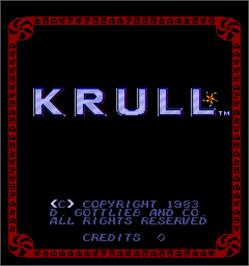 Title screen of Krull on the Arcade.