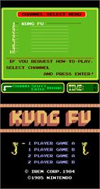 Title screen of Kung Fu on the Arcade.