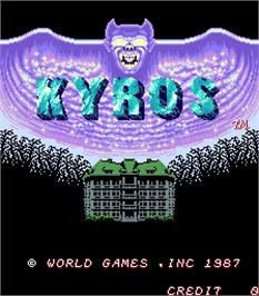 Title screen of Kyros on the Arcade.