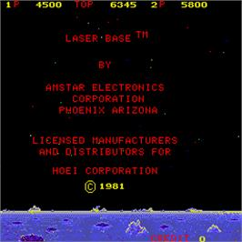 Title screen of Laser Base on the Arcade.