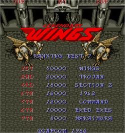 Title screen of Legendary Wings on the Arcade.