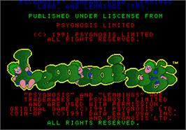 Title screen of Lemmings on the Arcade.