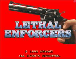 Title screen of Lethal Enforcers on the Arcade.