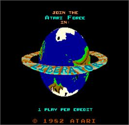 Title screen of Liberator on the Arcade.