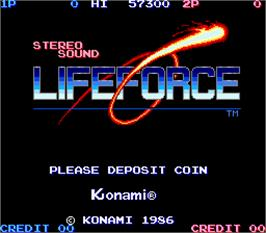 Title screen of Lifeforce on the Arcade.