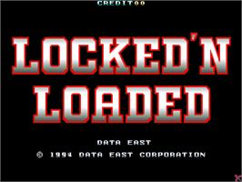 Title screen of Locked 'n Loaded on the Arcade.