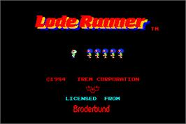 Title screen of Lode Runner on the Arcade.