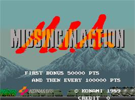 Title screen of M.I.A. - Missing in Action on the Arcade.