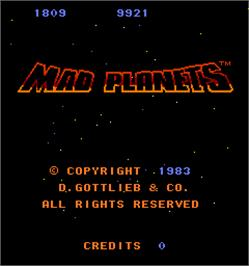 Title screen of Mad Planets on the Arcade.