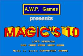 Title screen of Magic's 10 on the Arcade.