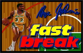 Title screen of Magic Johnson's Fast Break on the Arcade.
