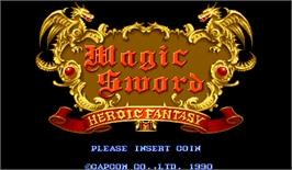 Title screen of Magic Sword: Heroic Fantasy on the Arcade.